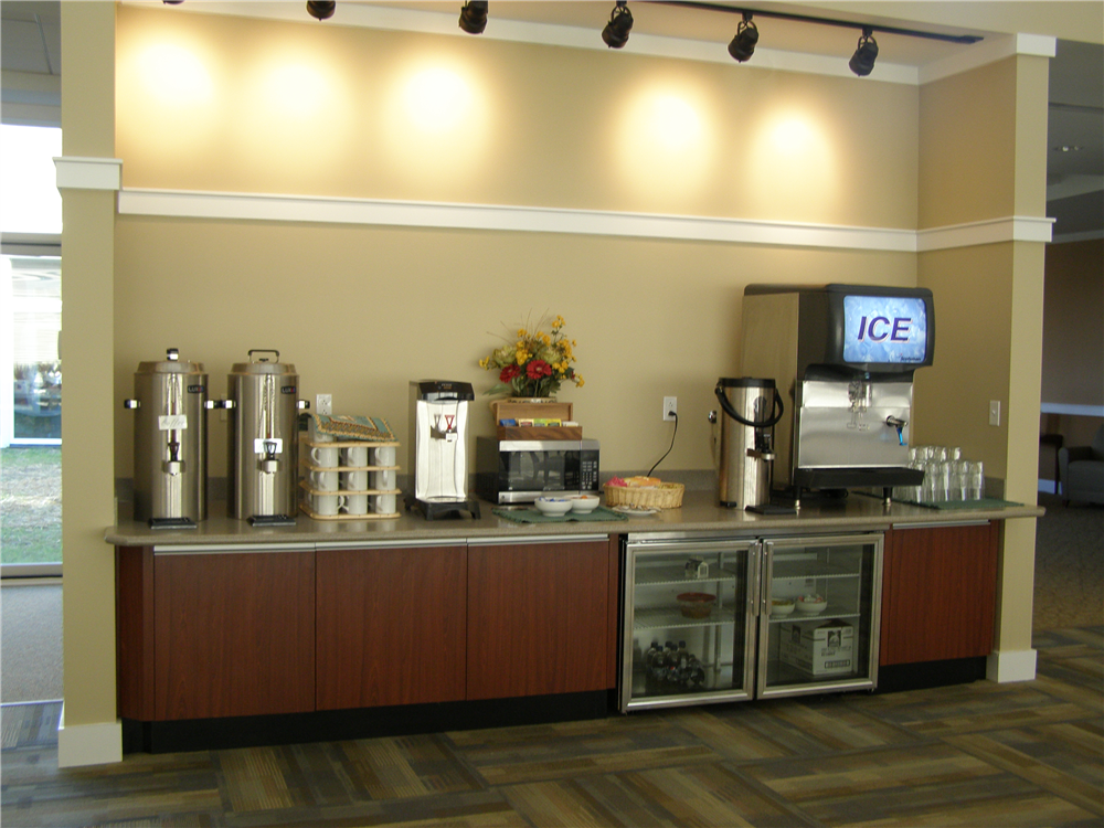 The Dining Room features a beverage counter stocked with hot and cold drinks all day.