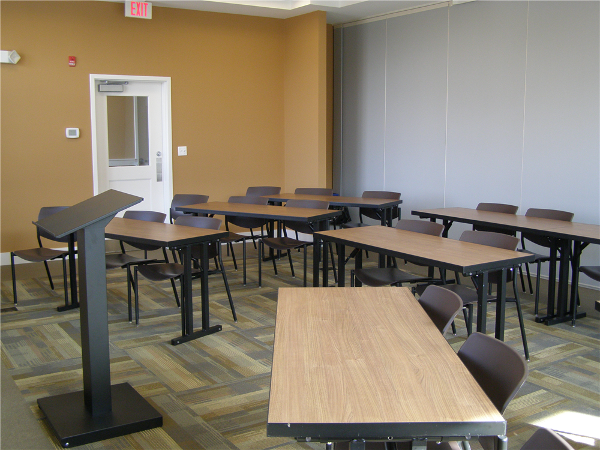 Two 1200 sq. ft. meeting rooms in the Godfrey Commons each of which accommodate up to 60 persons (classroom-style). These rooms can each be divided into two 600 sq. ft. rooms.