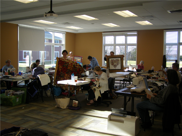 Quilters and Lap-top users alike appreciate the abundant floor outlets in the meeting rooms.