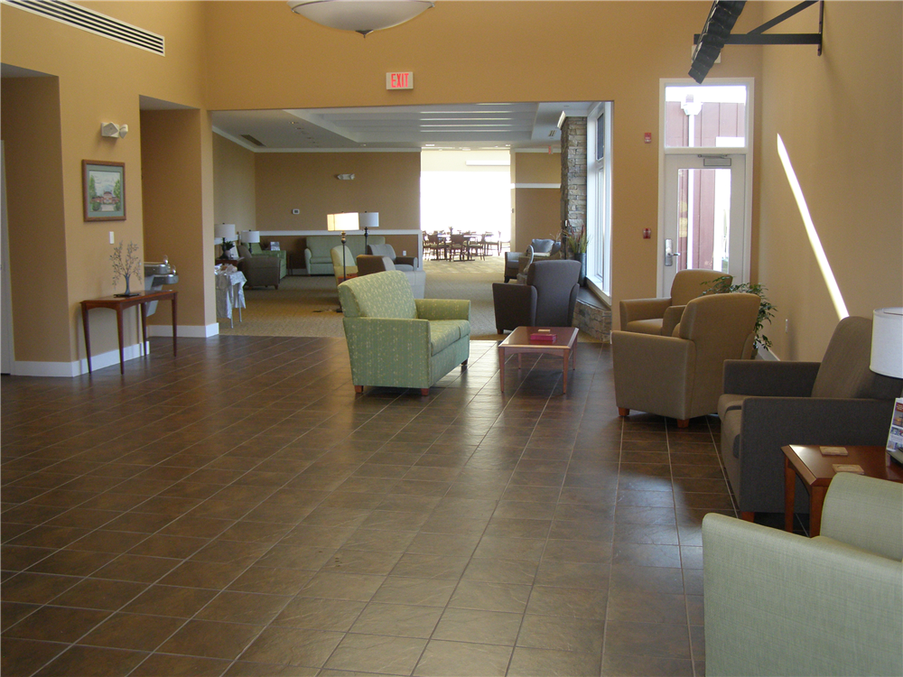 The Godfrey Commons building features informal gathering areas where people can sit and chat, or enjoy the quiet, on a retreat experience.