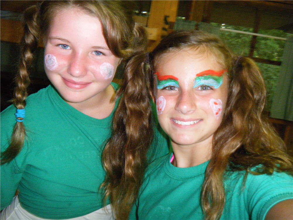 Riverside campers dress up for Wednesday night Theme Dinner. It's a different theme each week!