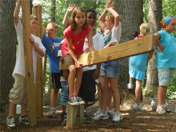 Campers in most programs get to practice communication, collaboration and creativity during teambuilding sessions on our Challenge Course.