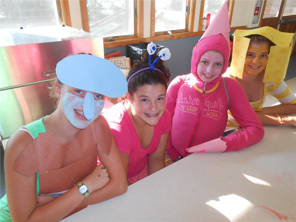 Campers dress up as Sponge Bob characters for Wednesday night Theme Dinner.