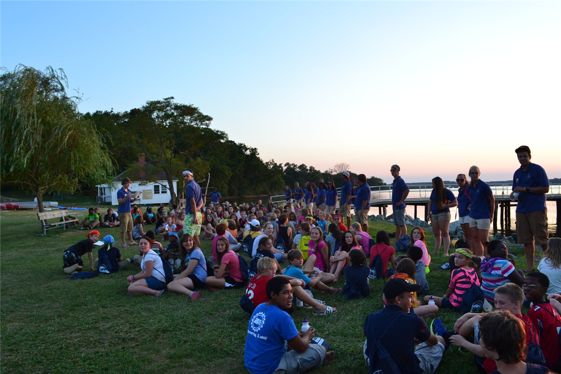 Campers line up for our weekly Sunday night Emergency Action Plan drill - it's our version of a fire drill!