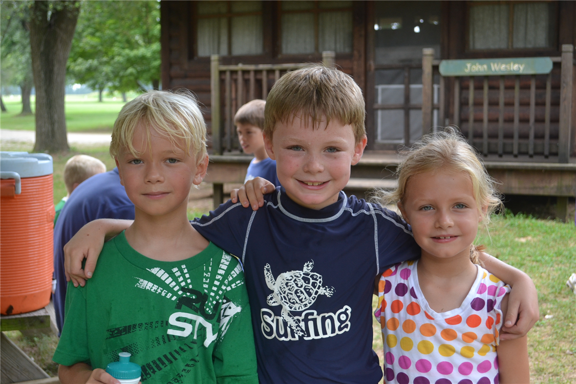 Campers enjoy a water break - water coolers in each area help us to keep everyone hydrated on those hot summer days.
