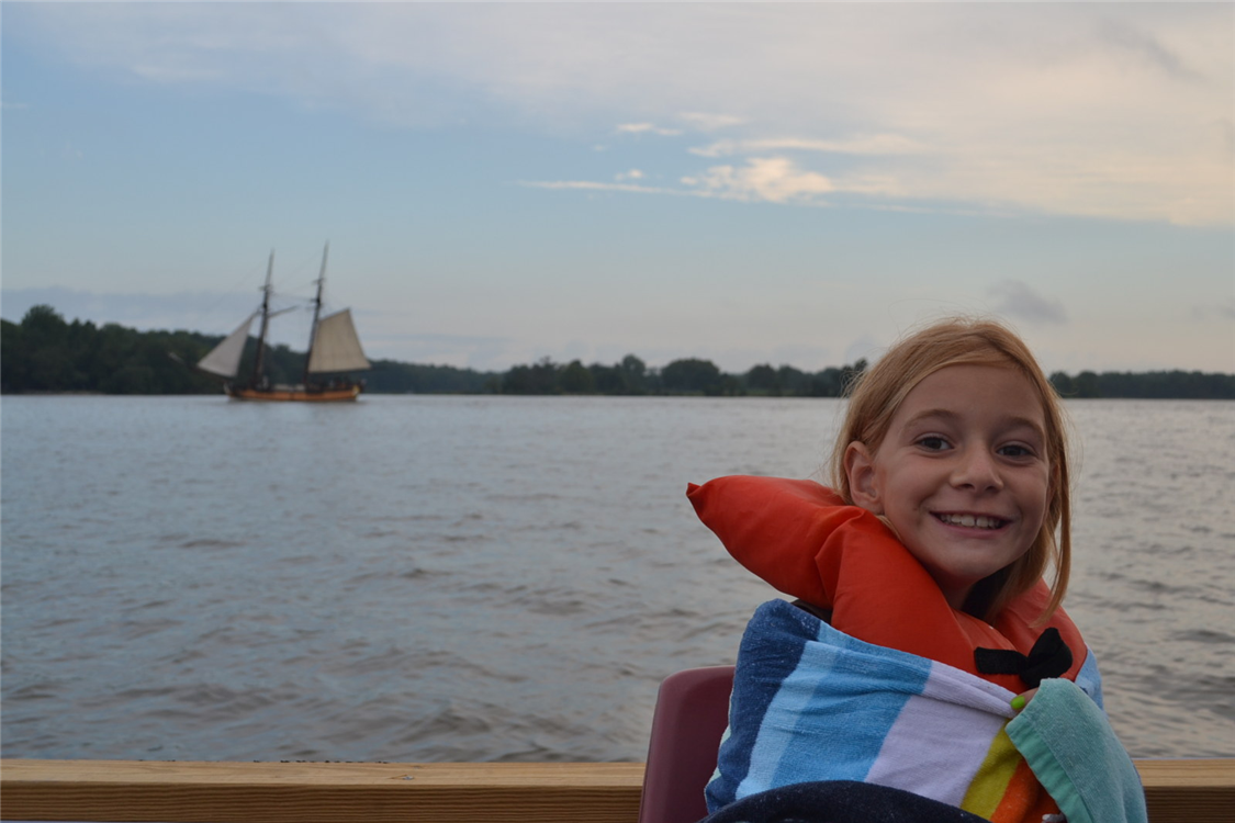 Chester River Trek campers take a boat trip to Chestertown, where they might catch a glimpse of the schooner Sultana.