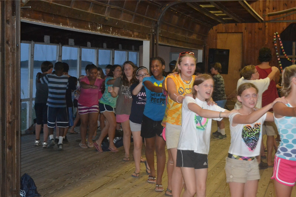 Campers and staff get up and dance during Music Time each night!