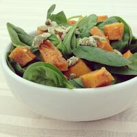 Spinach Salad with Butternut Squash and Candied Pumpkin Seeds